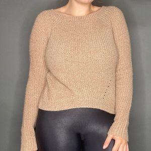 Farrow Tan Slight Crop Sweater Medium